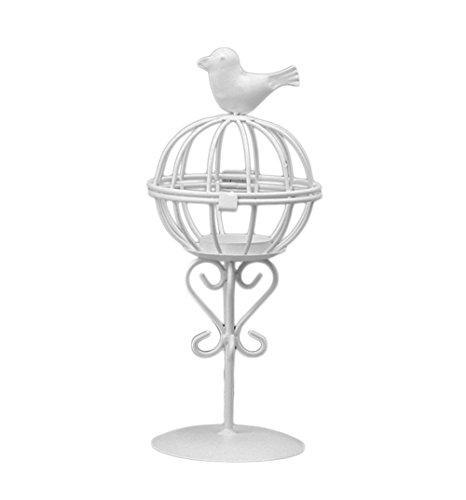 oyfel candelabros Exterieur linterna Solar Candelero decorativo jaula de pájaro negro blancen Metal para Boda Casa Decoración de mesa 1pcs, Wei?, 10*10*23cm