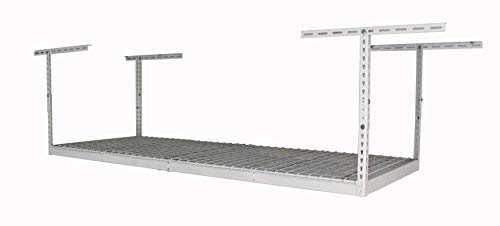 SafeRacks – 3x8 Overhead Garage Storage Rack - Height Adjustable Steel Overhead Storage Rack - 500 Pound Weight Capacity (White, 18'-33')