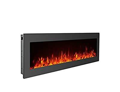 GMHome 40 Inches Electric Fireplace Wall Mounted Freestanding Heater Crystal Stone Flame Effect 9 Changeable Flame Color Fireplace, with Remote, 1500W, Black