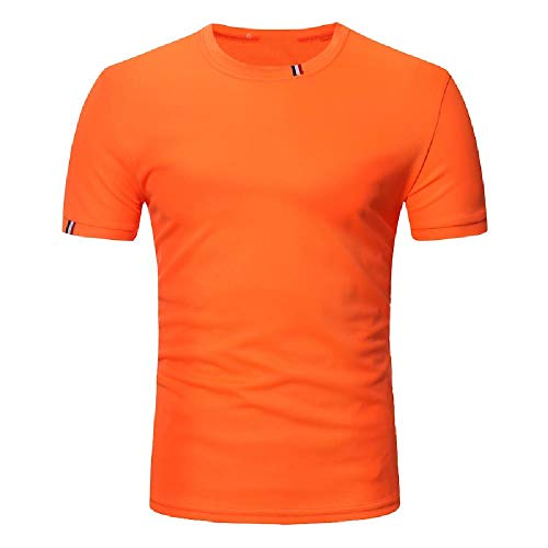 NOBRAND - Camiseta de manga corta para hombre, estilo casual, cuello redondo, color sólido