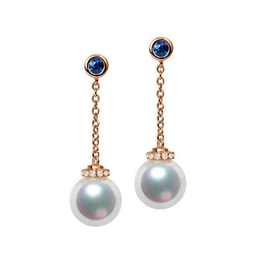Daesar Pendientes de Mujer Oro Rosa Azul Pendientes Oro Rosa 18K Perla Diamante 0.16ct
