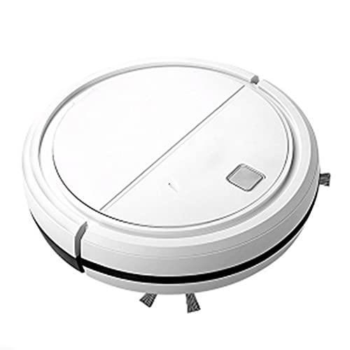 OOFAJ Robot Aspirador,USB Limpiador, Succión Potente de 1800 Pa, Ultrafino,Detecta obstáculos,Silencioso,Ideal para Pelo de Animales, alfombras y Suelos Duros,Blanco
