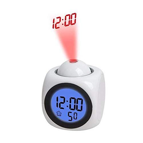 Lpinvin Sveglia Multi-Funzione LED Digital Sveglia della proiezione con la Voce di Temperatura F/C Commutazione Comodino Orologio (Colore : White, Size : One Size)