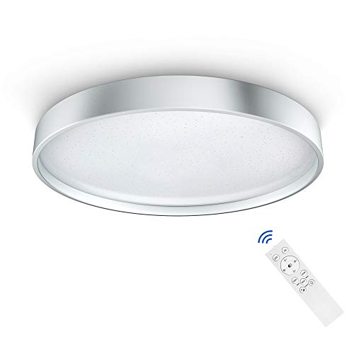 Deckenleuchte Anten 36W LED Deckenlampe Dimmbar 3000-6500K Lichtfarbe u. Helligkeit einstellbar Moderne Deckenbeleuchtung mit Fernbedienung Innenleuchte für Kinderzimmer Wohnzimmer, Silberrahmen