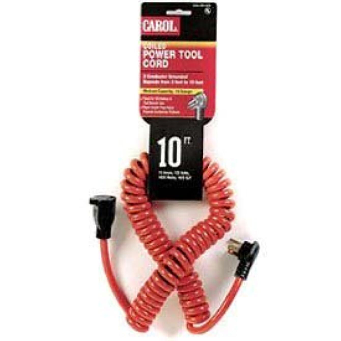 Carol 10' Coiled Power Tool Ext./Power Cord, 16awg 13a/125v, Orange