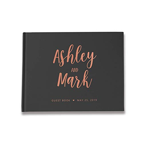 Guestbook wedding with and without questions photo book precious romantic gold rose gold silver copper finishing deluxe black
