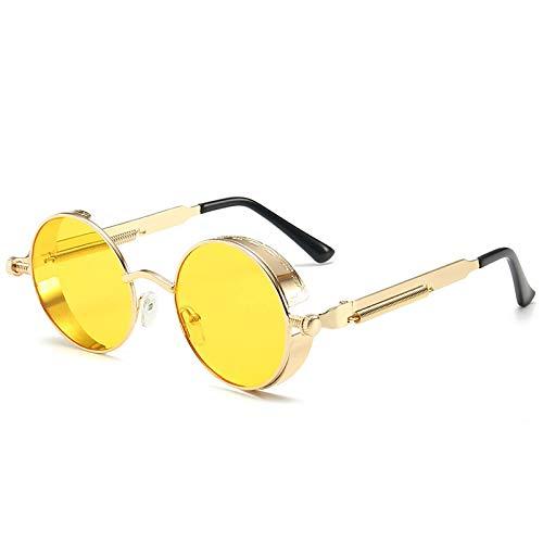 Gafas de Sol Gafas De Sol Clásicas Góticas Steampunk Circulares para Hombres Y Mujeres, Gafas De Sol Punk Redondas Retro para Hombre, Gafas De Sol De Moda con Montura Metálica, Gafas De Cond