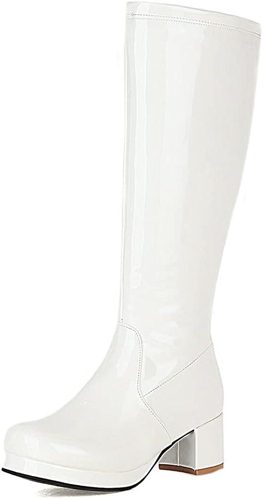 Women's Fashion Knee High Boots, Round Toe Slim Chunky Mid Heel Platform Riding Mid Calf Go Go Boots…