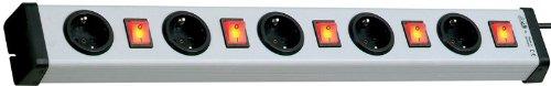 VARIO LINEA Universal 5+5-Fach-Steckdosenleiste einzeln schaltbar | Stecker-Leiste mit Berührungsschutz| 250 V, 16 A, 50 Hz, 3.600 W