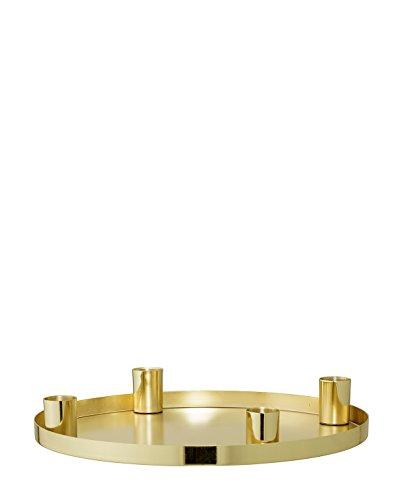 Bloomingville - Adventskerzenhalter - Tablett - Rund - Gold - Ø25xH3,5 cm