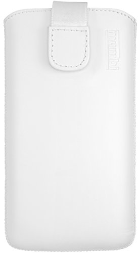 mumbi Echt Ledertasche kompatibel mit Sony Xperia XZ Premium Hülle Leder Tasche Case Wallet, weiss