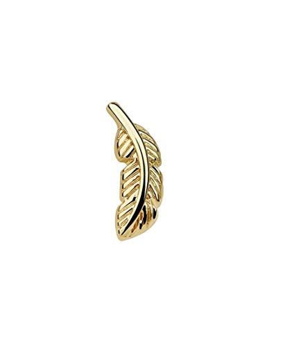 iJewelry2 Piercing de oreja de acero inoxidable en forma de pluma en forma de oro