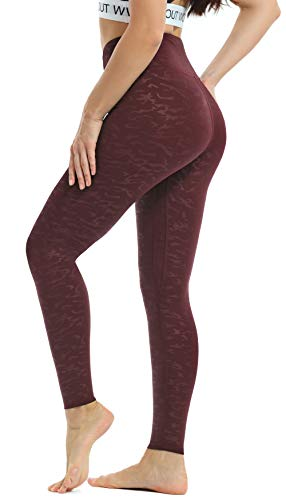 Persit Yoga Pants for Women High Waisted Workout Print Leggings with Pockets Athletic Gym Yoga Leggings - Wine Red - M