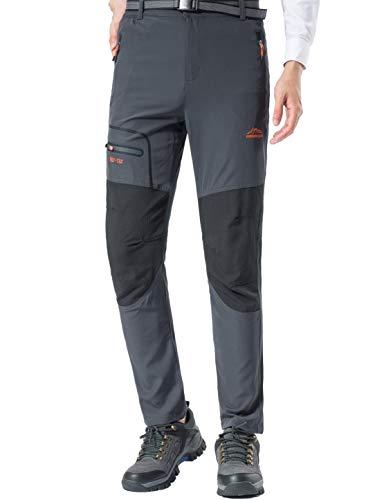BenBoy Pantaloni Trekking Uomo Asciugatura Rapida Traspiranti Pantaloni da Montagna Impermeabile Arrampicata Escursionismo Outdoor,KZ1737M-Grey-S