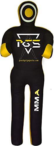 PGS Sports MMA Grappling Dummy - Brazilian Jiu Jitsu - BJJ Wrestling - Boxsack Submission - Stehposition - Judo Karate - Wurfboxen - ungefüllt (Schwarz Gelb Canvas, 178 cm)