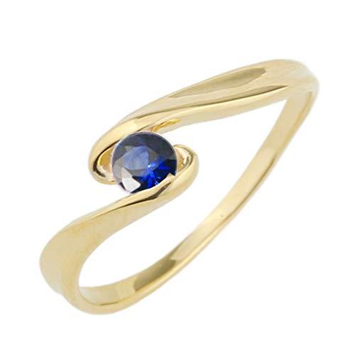 (リュイール) 指輪 レディース 人気 サファイア リング 10金 人気 リング 一粒 カラーストーン 誕生石 シンプル k10イエローゴールド サイズ 5.5号