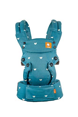 Baby Tula Explore Baby Carrier 7 – 45 LB, Adjustable Newborn to Toddler Carrier, Multiple Ergonomic Positions, Front and Back Carry, Easy-to-Use, Lightweight – Playdate (Blue/White Hearts)