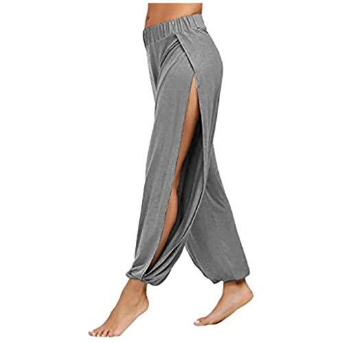 Andouy Damen Pumphose Haremshose Sommerhose Side Slit Yogahose Aladinhose Baggypants Sweatpants(XL.Grau)