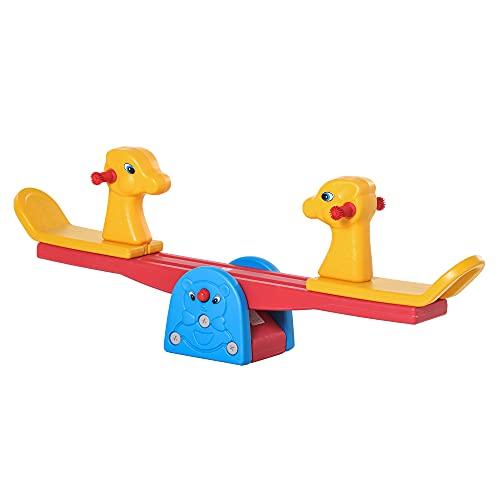 HOMCOM Kinder Gartenwippe Wippe mit Hirschform Kinderwippe Karussellwippe für 1-4 Jahre Kinder Kunststoff mehrfarbig 150 x 32 x 60 cm
