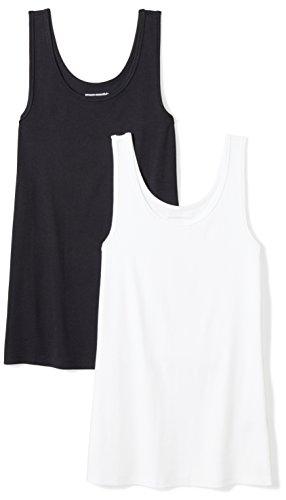 Amazon Essentials Women's 2-Pack Slim-Fit Tank, Black/White, Medium