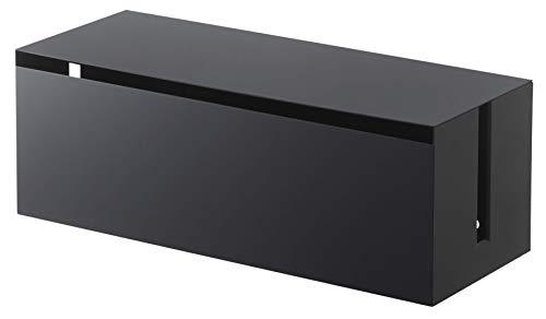 山崎実業(Yamazaki) テレビ裏ケーブルボックス スマート ブラック 約W40XD15.5XH14.5cm スマート ケーブル収納 簡単開閉 4988
