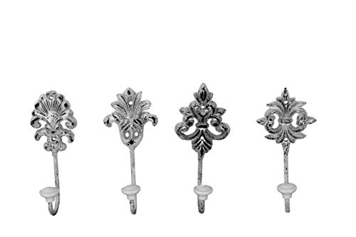 BigDean 4er Set Garderoben-Haken in Nostalgie-Weiß - Massiv aus Metall mit Hakenabschluss aus Keramik - 4 Verschiedene Wandhaken im Lilien-Design