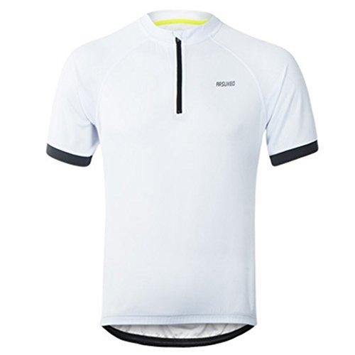 emansmoer Hommes Manches Courtes 1/4 Zip Pullover Cyclisme Sports T-Shirt Séchage Rapide Running T-Shirt (XL, Blanc)