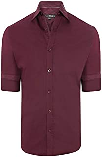 Tarocash Men's Brock Stretch Shirt Stretch Cotton Regular Fit Long Sleeve Sizes XS-5XL for Going Out Smart Occasionwear