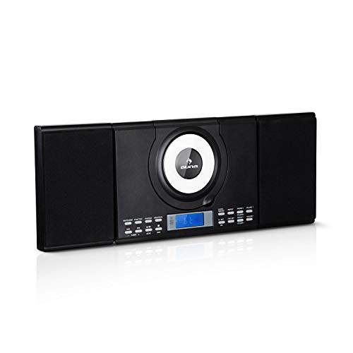 auna Wallie Microsystem - Stereoanlage, Microanlage, Kompaktanlage, 2 x 10 W RMS Stereo-Lautsprecher, Front-Loading CD-Player, UKW, Bluetooth, USB-Port, LCD-Display, Fernbedienung, schwarz