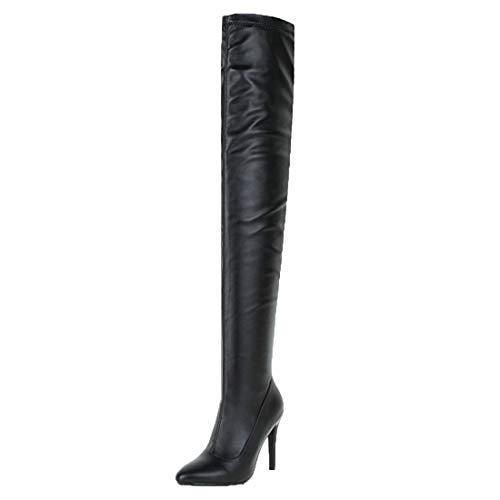 MISSUIT Damen Overknee Stiefel Stiletto High Heels Stiefel Spitz Herbst Winter Langschaft Stiefel Schuhe(Schwarz,38)