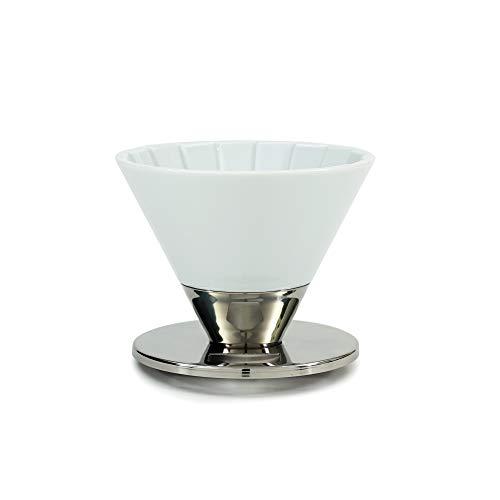 Coffee Dripper Gloss White (コーヒードリッパー グロスホワイト) [佐賀県/有田]【Beasty Coffee】金属とのコンビネーションが印象的なドリッパー