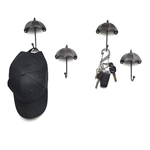 ZHICHUAN Escudo en Forma de Ganchos Paraguas Decorativo Ganchos de Pared Conjunto de 4 Elegante Antiguo de Hierro Fundido Montado en la Pared Del Sombrero Estante de la Pared Creati