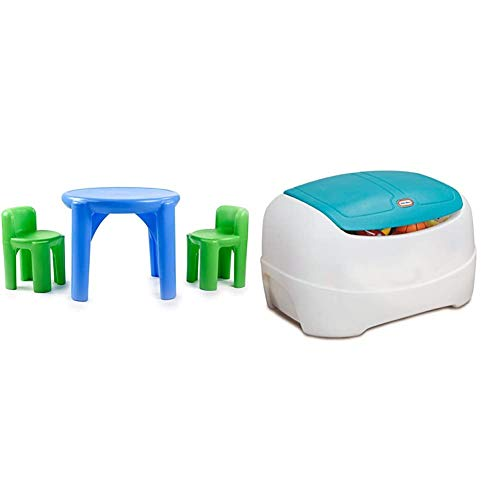 Little Tikes Bright 'n Bold Table & Chairs, Green/Blue & Tikes Play 'N Store Toy Chest