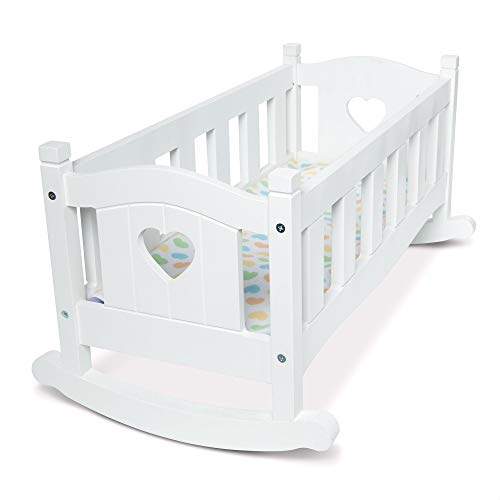 """Melissa & Doug Mine to Love Wooden Play Cradle for Dolls, Stuffed Animals - White (2 Beds, 10.2""""H x 18.8""""W x 20.7""""L Assembled, Great Gift for Girls and Boys - Best for 3, 4, 5 Year Olds and Up)"""