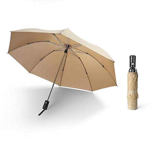 Paraguas Paraguas inverso automático Paraguas Plegable de Doble Uso for Lluvia y Sol Tres Plegables Negros Más el...