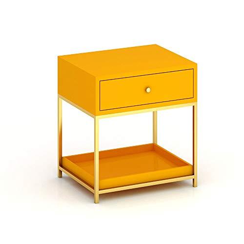 Tables HAIZHEN Pliable d'appoint carrée Simple de de Chevet de Fer avec la de Stockage de tiroir, 55 * 48 * 58cm Stations de Travail informatiques (Couleur : Orange)