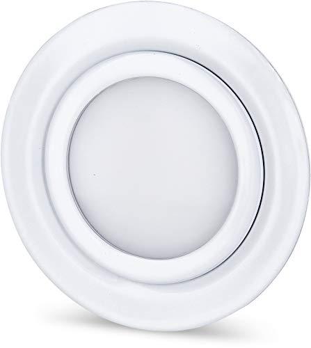 LED Slim Möbel Einbaustrahler Vollmetall IP44 12V MINI-AMP - weiß-glänzend - 4W 330lm - passend in Unterputz-Dose Ø 60mm - warmweiß (3000 K)