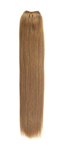 Euro soyeux tissage | Extensions de cheveux humains | 45,7 cm | Pâtisserie pour fille Marron clair (18) American Pride