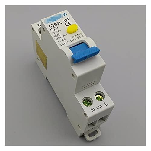 XIAOYAFANG Hxfang 18mm RCBO 20A 1P + N 6KA Interruptor de Corriente Residual Diferencial automático con la protección contra Corriente y Fugas