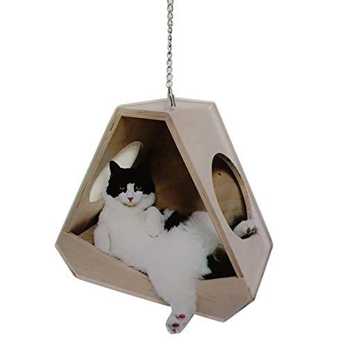 Crazyfly Decoración colgante de gato para coche, colgante de gato sentado en una hamaca, accesorios para colgar en el coche, adorno acrílico para interior del coche