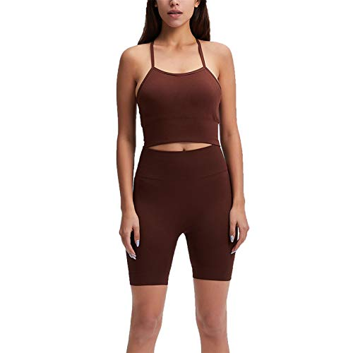 Conjunto de Chándal Mujer Traje de 2 Piezas, Juego de entrenamiento sin fisuras de las mujeres con trajes de 2 piezas de cintura alta yoga gimnasio pantalones cortos leggings sexy espagueti correa cru