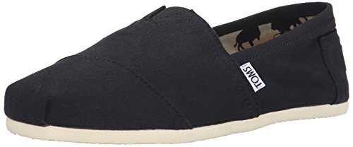 TOMS Women's Classic Core Alpargata Slip-On, Black Canvas, 7.5