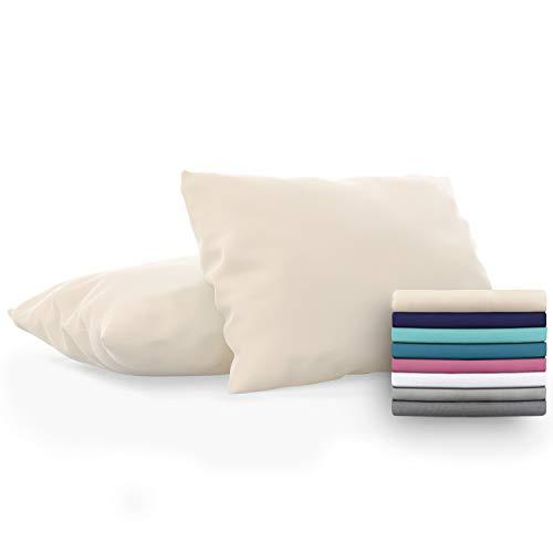 Dreamzie - Set de 2 x Funda de Almohada 40x70 cm, Beige, Microfibra (100% Poliéster) - Fundas de Almohadas Hipoalergénica - Fundas de Cojines de Calidad con una Suavidad Incomparable