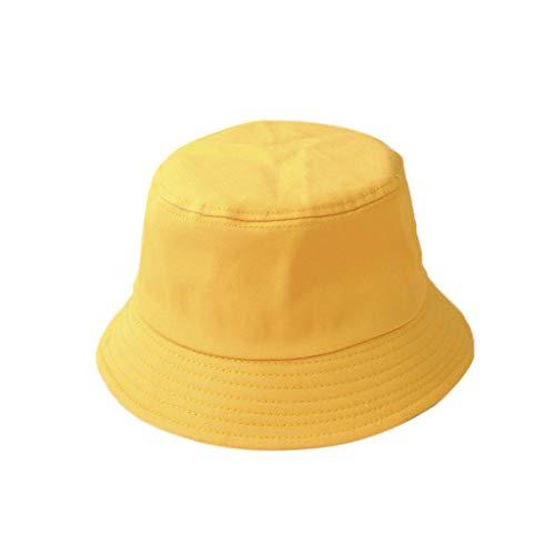 Mdhsh Sombrero Corea Adulto Niños Verano Plegable Cubo Sombrero Monocolor Hip Hop Ala Ancha Protección UV Redondo Top Solar Fischer Cap A Adulto