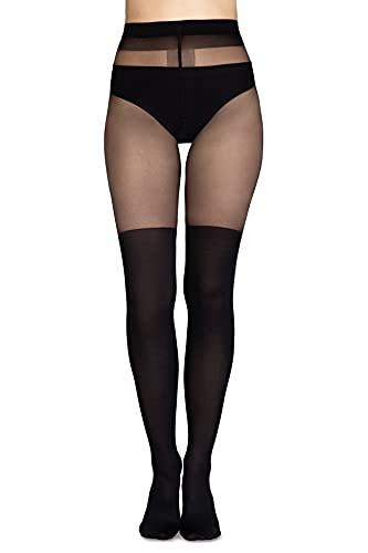 Annes styling Medias Negras Overknee calcetines altos imitación patrón 20/60 DEN, Nero Luana, XS/S