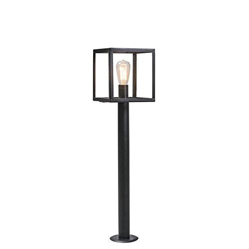 QAZQA Moderne buitenlamp paal zwart 100 cm - Rotterdam Glas/Roestvrij staal (RVS) Kubus/Vierkant/Langwerpig Geschikt voor LED Max. 1 x 60 Watt