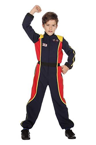 The Fantasy Tailors Rennfahrer-Kostüm Kinder Jungen Overall Schwarz Racing Formel 1 Formula 1 Renn-Anzug Karneval Fasching Hochwertige Verkleidung Fastnacht Größe 128 Dunkelblau