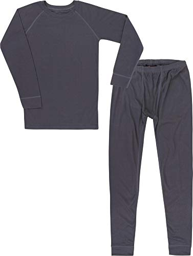 Kinder Thermounterwäsche-Set mit Quick Dry Funktion - (Langärmligem Oberteil + Langer Unterhose) - schnelltrocknend, Wärmend und Kuschelig - ÖkoTex100 Farbe Anthrazit Größe 122-128
