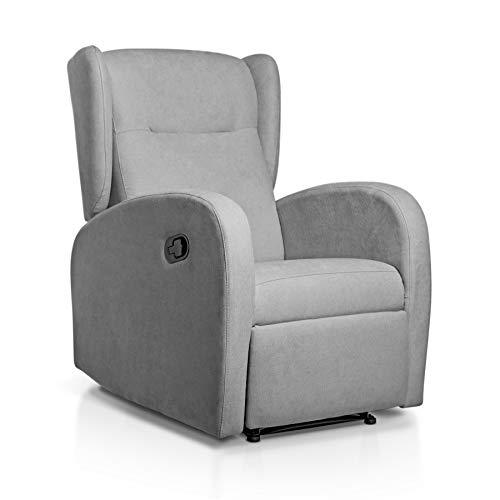 SUENOSZZZ-ESPECIALISTAS DEL DESCANSO Sillón Relax orejero Home reclinable con Pared Cero tapizado en Tela Antimanchas Tela Gris