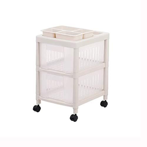 TXXM Estante de la carretilla de plástico gaveta de la carretilla del estante del hogar de la carretilla cocina for guardar Movable (Size : 2 layers)